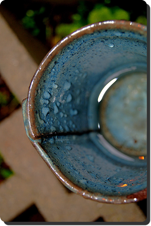 Cup with raindrops